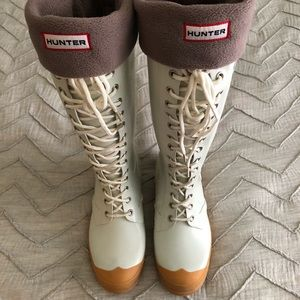 White Hunter Rain Boots - Lace up two toned